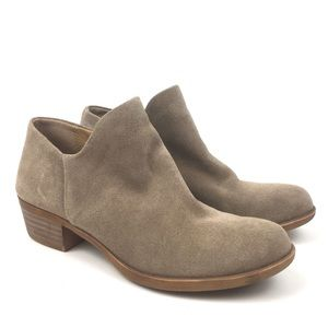 Lucky brand tan leather ankle boot bootie suede